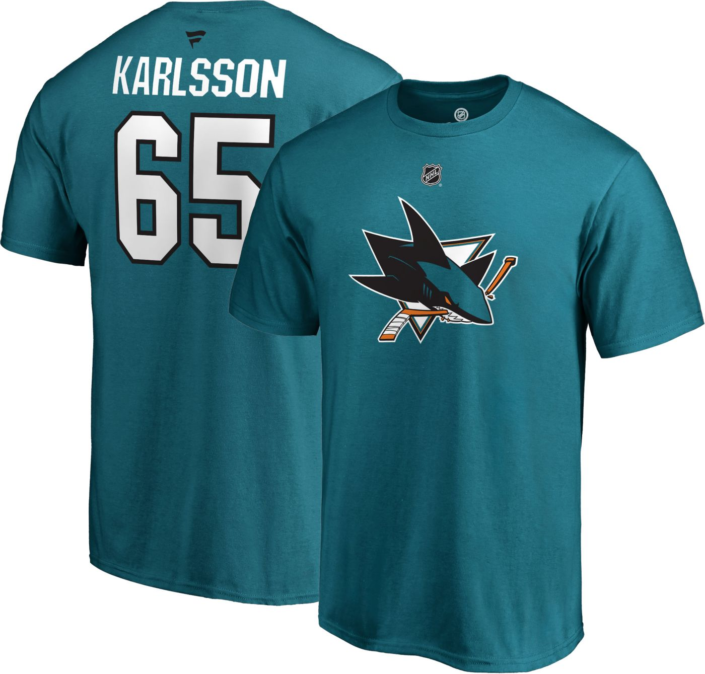 NHL Men's San Jose Sharks Erik Karlsson #65 Teal Player T-Shirt