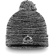 NHL Men's Colorado Avalanche Black and White Pom Knit Beanie