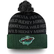 NHL Men's Minnesota Wild Authentic Pro Rinkside Green Cuffed Pom Knit Beanie