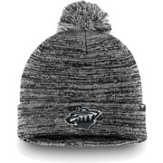 NHL Men's Minnesota Wild Black and White Pom Knit Beanie