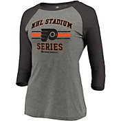 NHL Women's 2019 Stadium Series Philadelphia Flyers Vintage Raglan Grey Quarter-Sleeve Shirt
