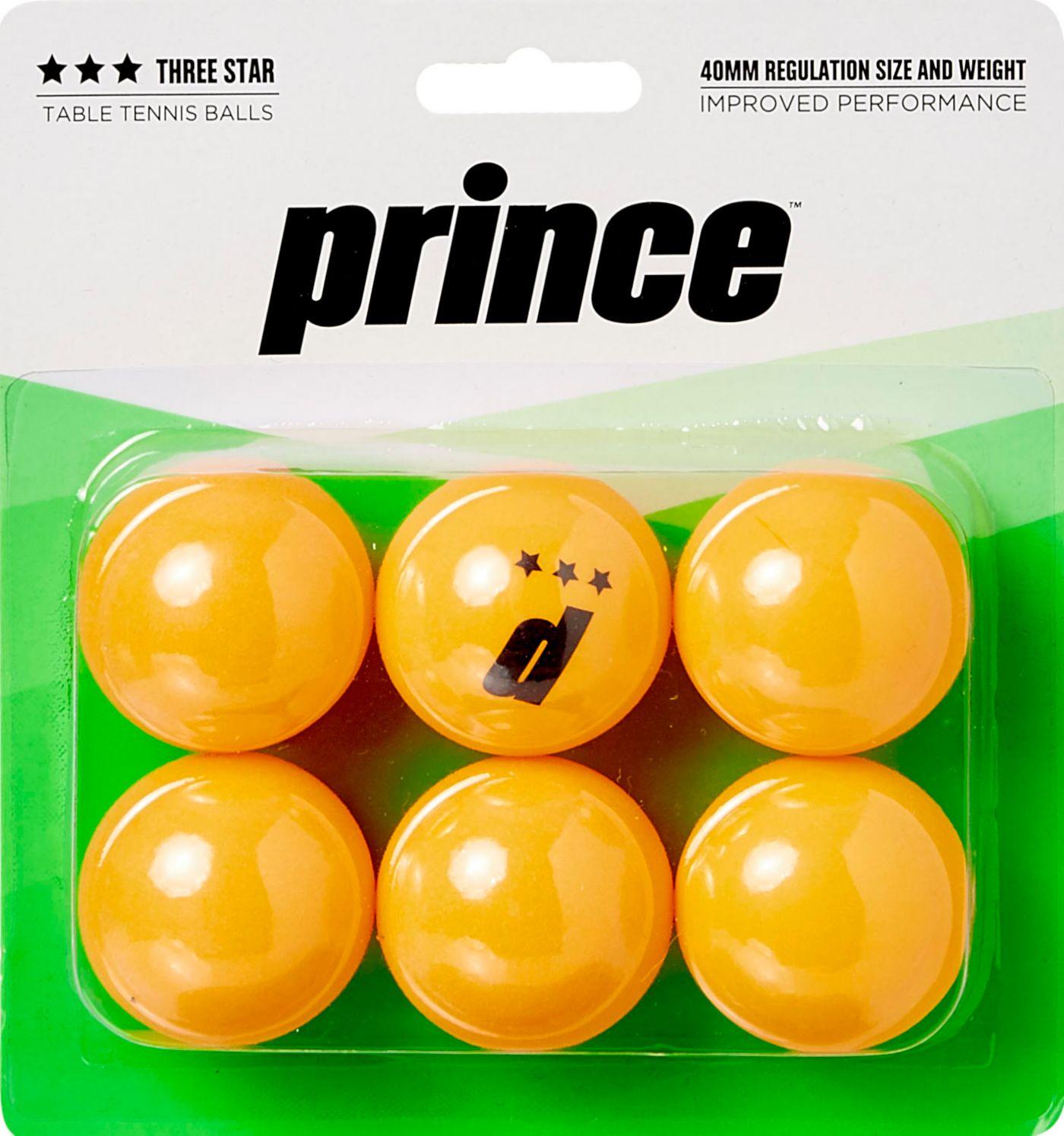 Prince Three-Star Orange Table Tennis Balls 6 Pack
