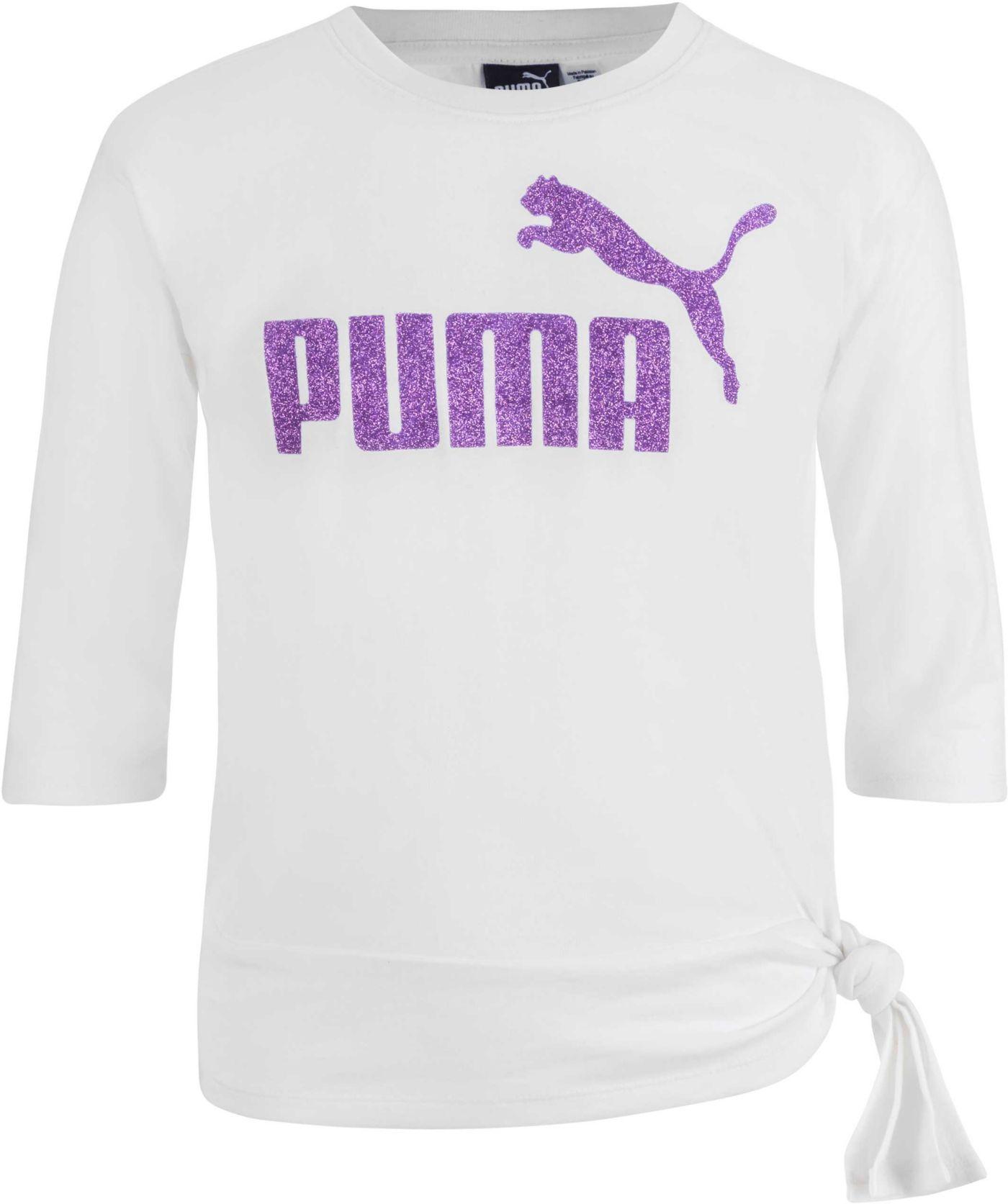 PUMA Girls' 3/4 Length Sleeve Side Knot Pullover
