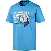 PUMA Men's Manchester City Graphic Blue Tee