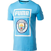 PUMA Men's Manchester City Shoe Tag Blue T-Shirt