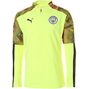 PUMA Men's Manchester City Yellow Quarter-Zip Pullover