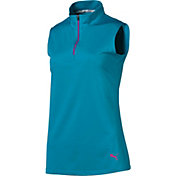 PUMA Women's ¼-Zip Mock Sleeveless Golf Polo