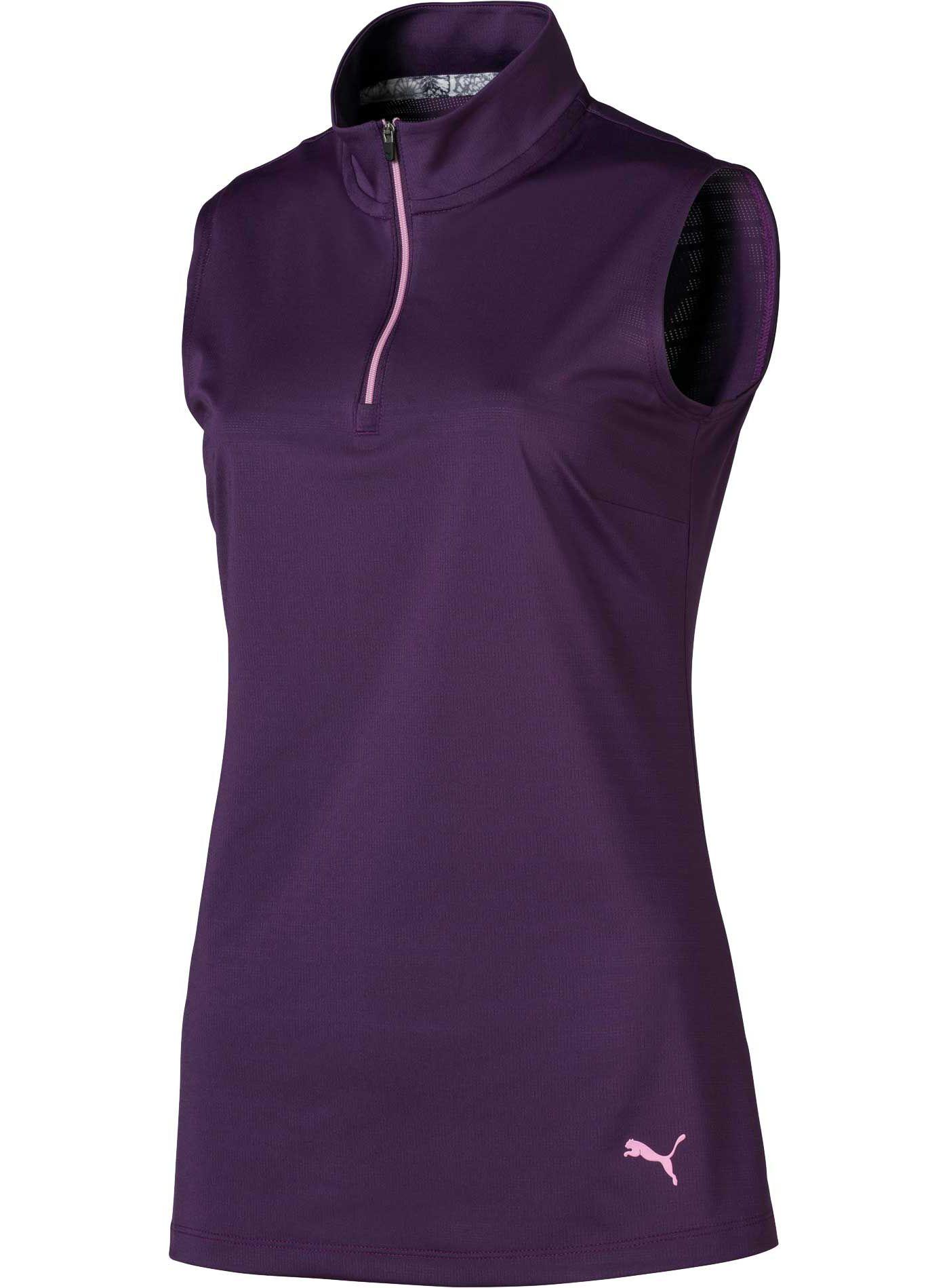 PUMA Women's ¼-Zip Mock Sleeveless Golf Polo