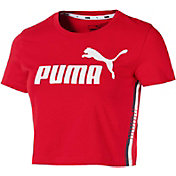 PUMA Women's Tape Logo Cropped Graphic Tee