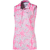 PUMA Women's Sleeveless Floral Golf Polo