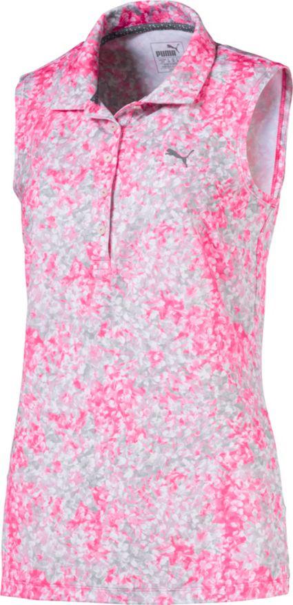 PUMA Women's Sleeveless Floral Golf Polo