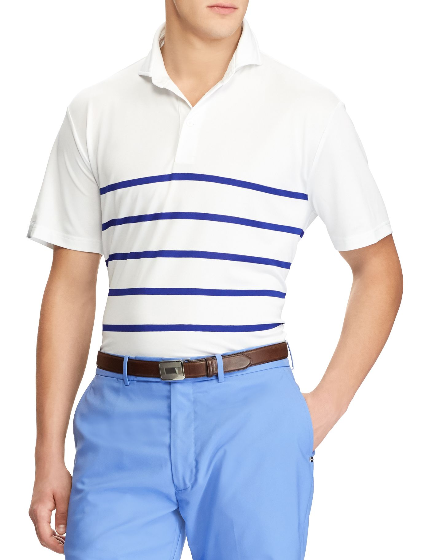 RLX Golf Men's Striped Tech Pique Golf Polo