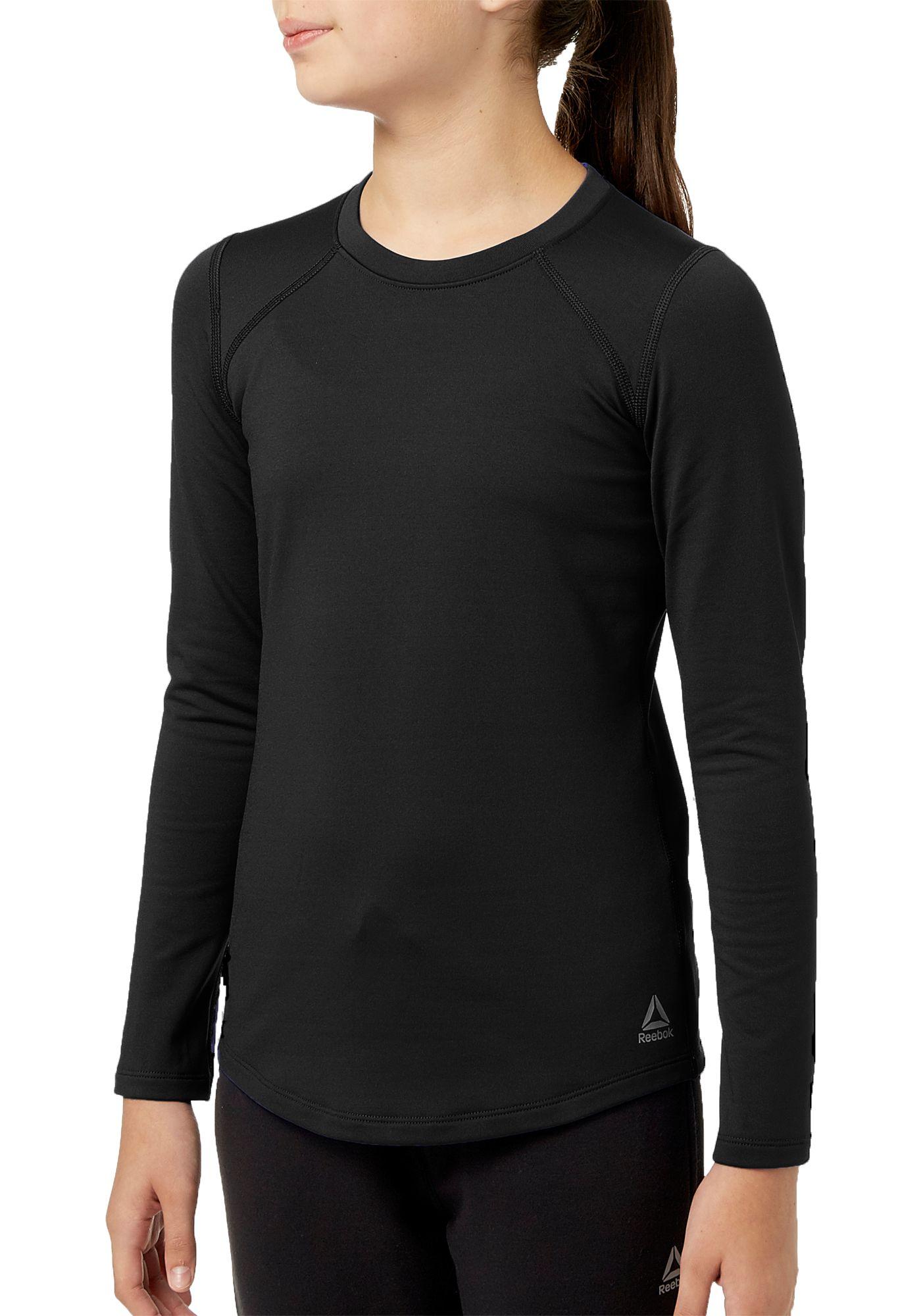 Reebok Girls Cold Weather Compression Crewneck Long Sleeve Shirt