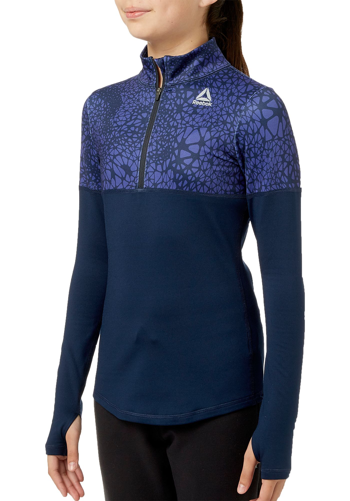 Reebok Girls' Cold Weather Compression 1/4 Zip Long Sleeve Shirt