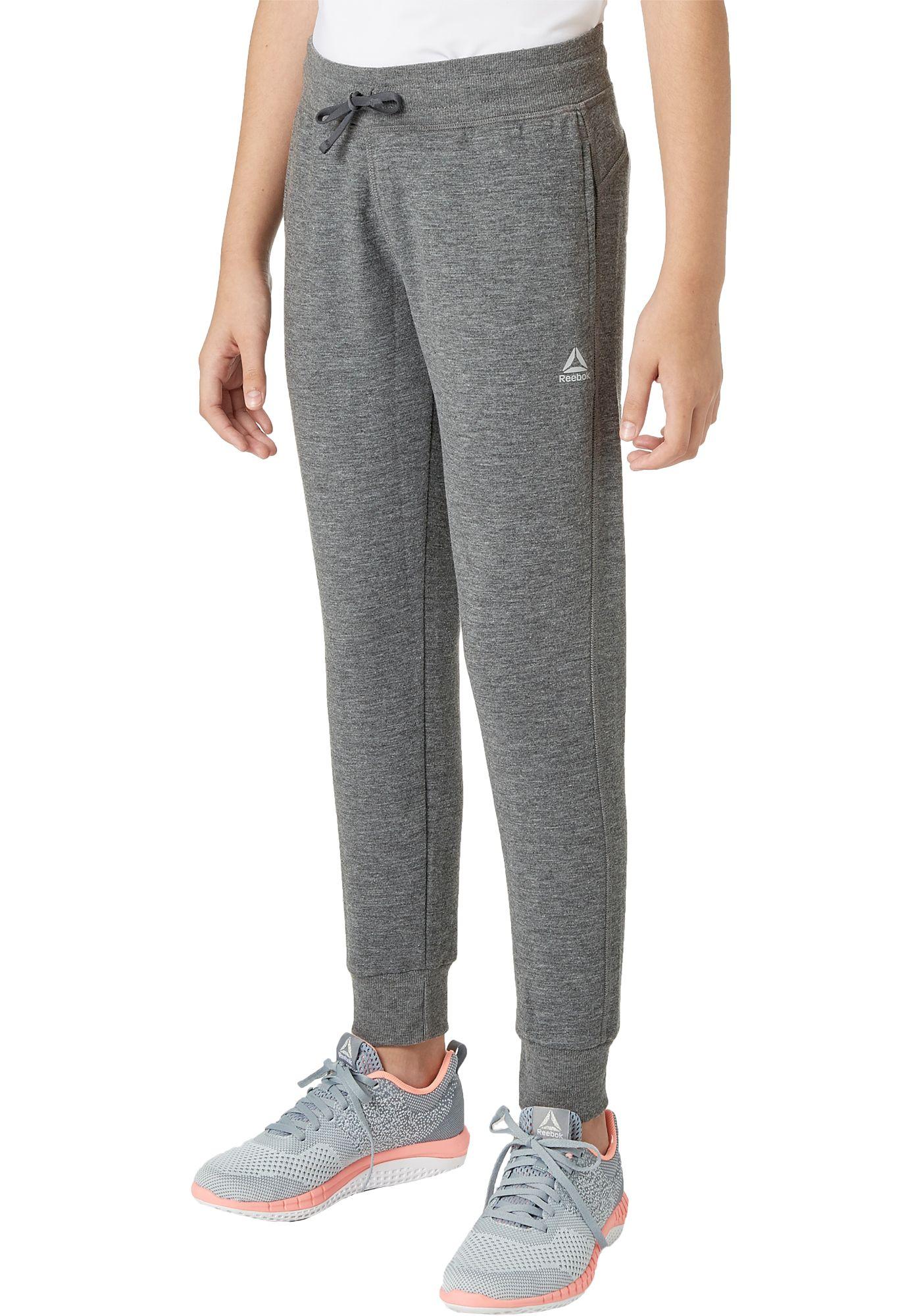 Reebok Girls' Heather Cotton Fleece Jogger Pants