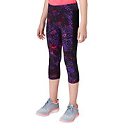 Reebok Girls' Printed Side Stripe Cotton Capris