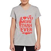 Reebok Girls' Performance Space Dye Graphic V-Neck T-Shirt