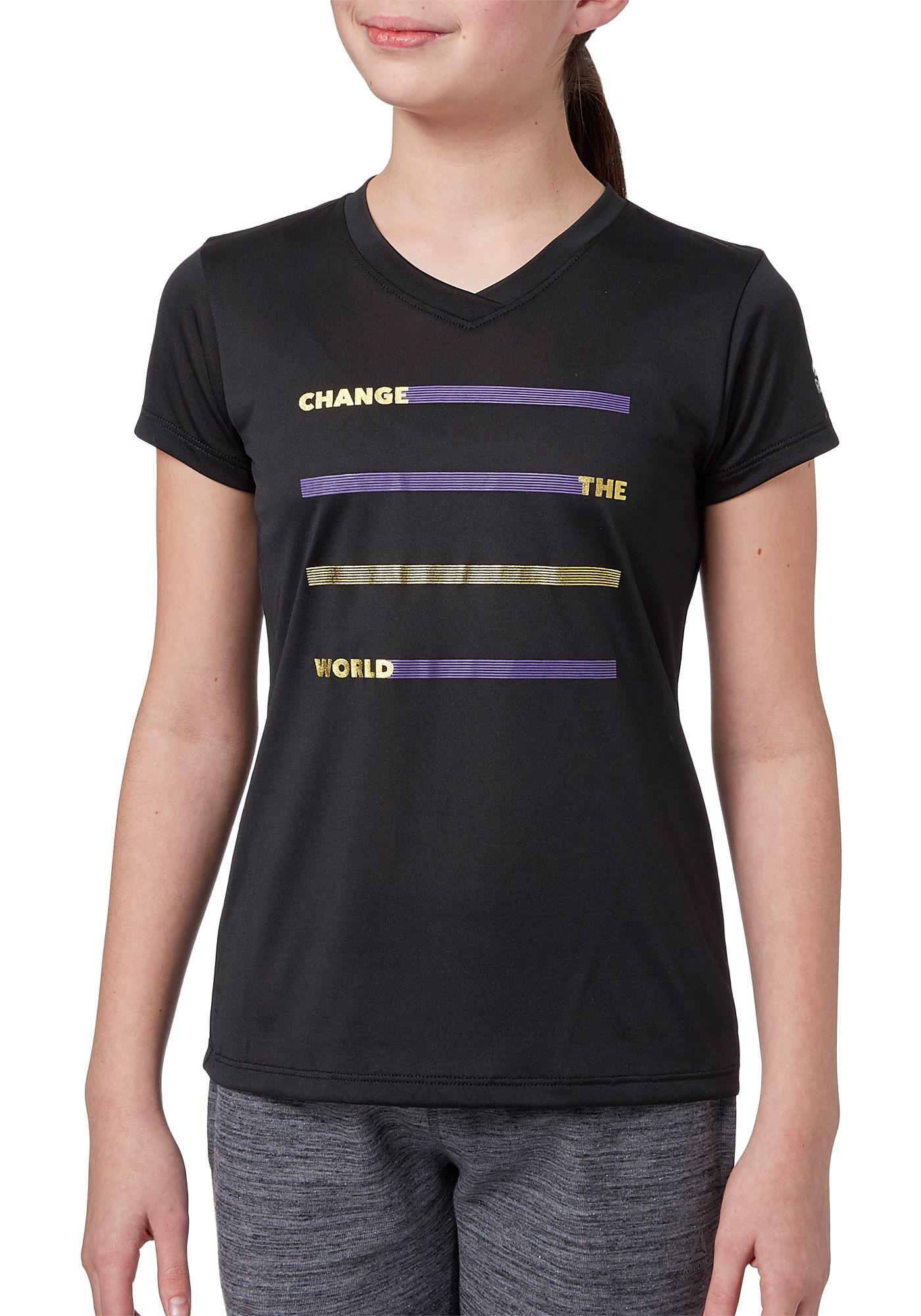 Reebok Girls' Performance Graphic V-Neck T-Shirt