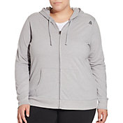 Reebok Women's Plus Size Heather Core Cotton Jersey Zip Front Hoodie
