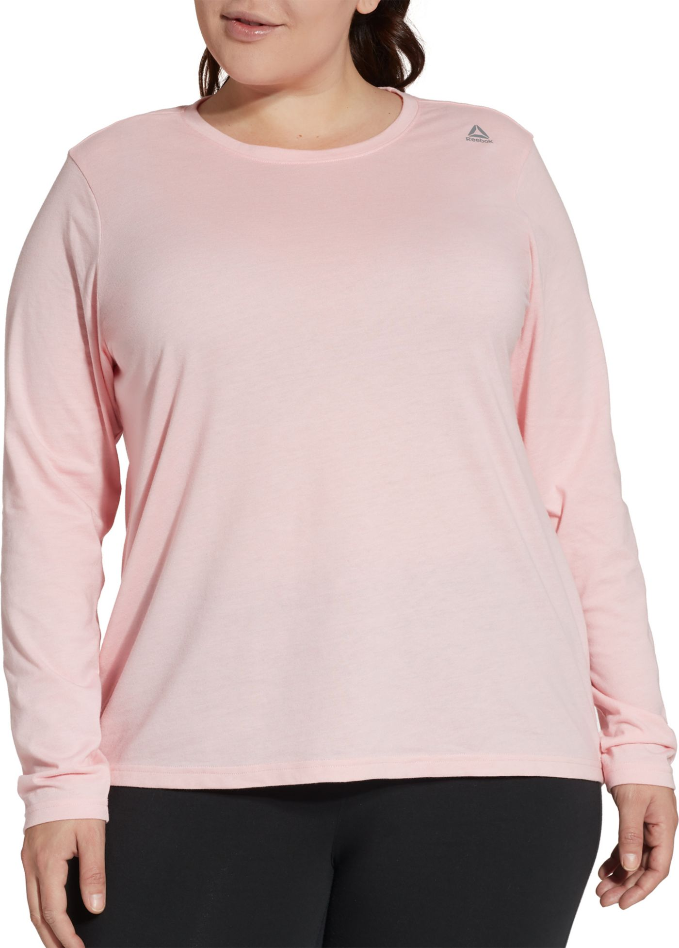 Reebok Women's Plus Size Core Cotton Jersey Long Sleeve Shirt