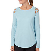 Reebok Women's Cross Shoulder Heather Long Sleeve Shirt