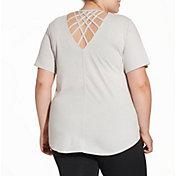 Reebok Women's Plus Size Heather Cross Back T-Shirt