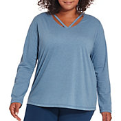 Reebok Women's Plus Size Cotton Split Back Long Sleeve Shirt