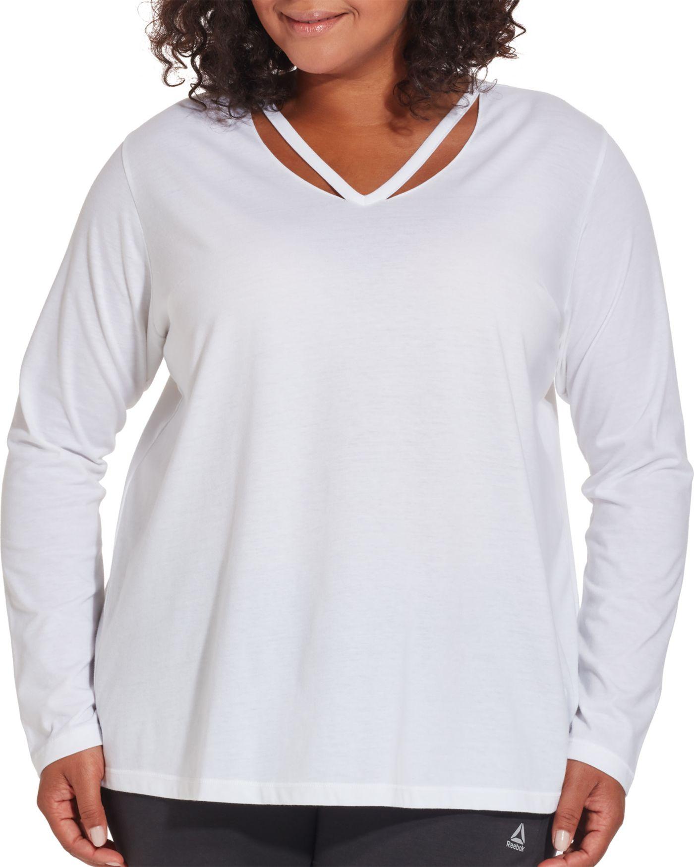 Reebok Women's Plus Size Cotton Split Back Long Sleeve Shirt