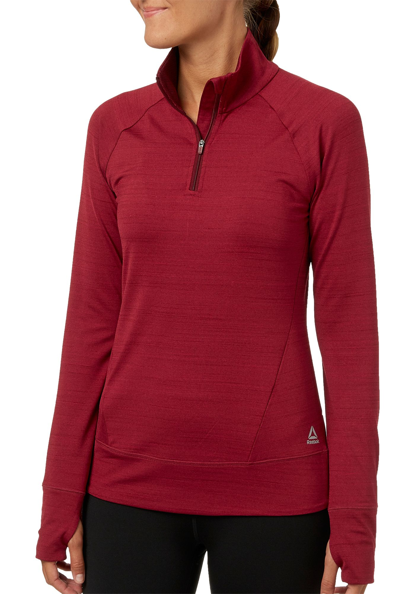 Reebok Women's Cold Weather Compression 1/4 Zip Long Sleeve Shirt