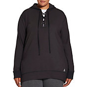 Reebok Women's Plus Size Fleece Popover Lace Up Hoodie