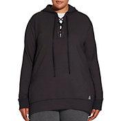 Reebok Women's Plus Size Fleece Popover Lace Up Hoodie
