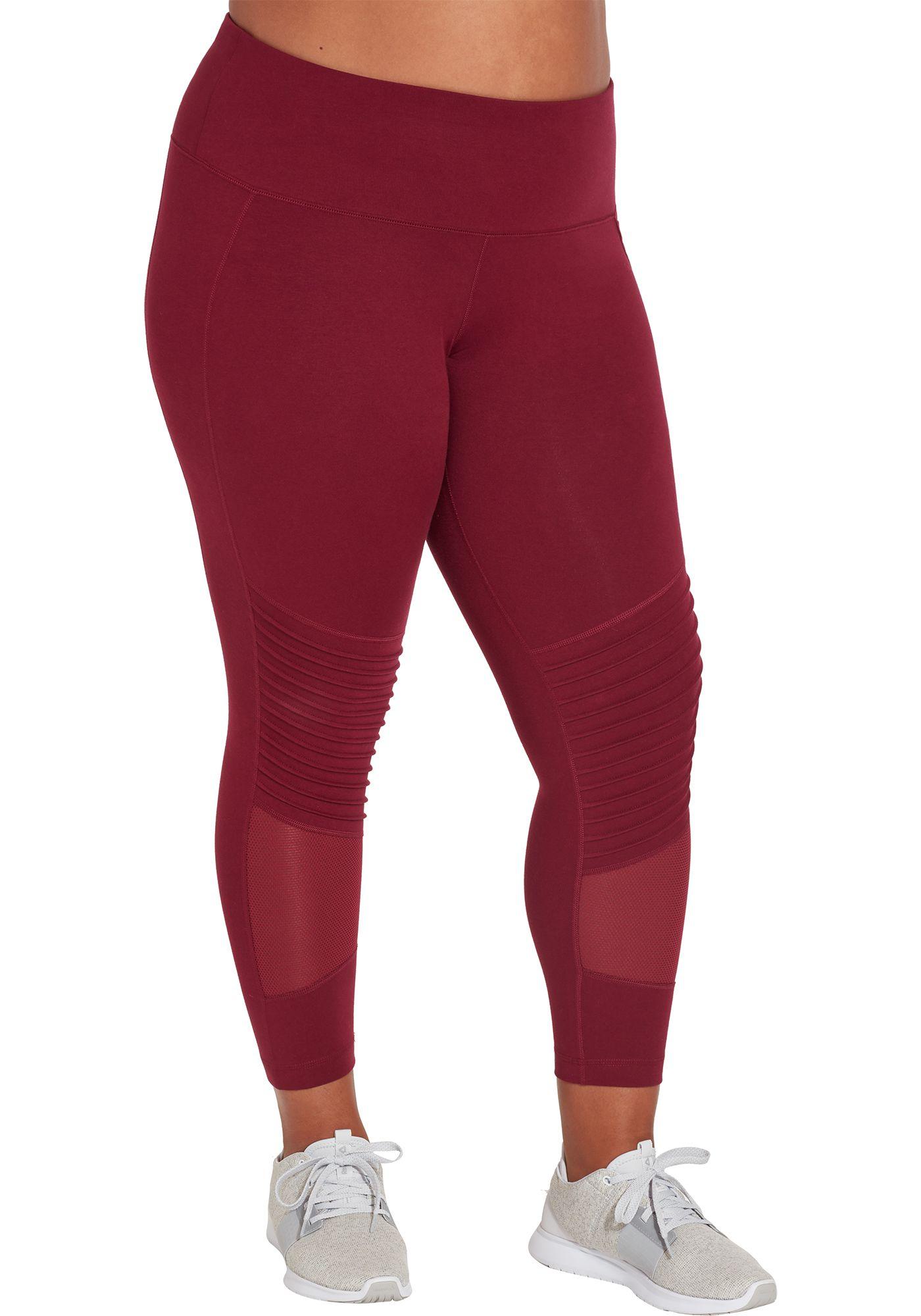 Reebok Women's Plus Size Stretch Cotton Moto Tights