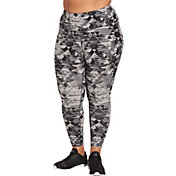 Reebok Women's Plus Size Printed Stretch Cotton Cross Ankle 7/8 Tights