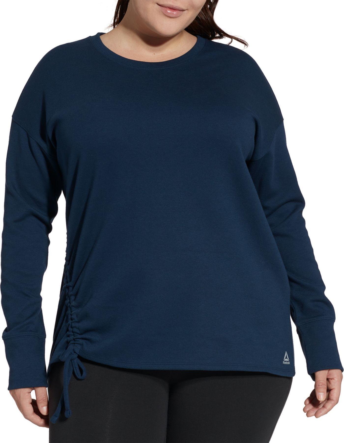 Reebok Women's Plus Size Fleece Side Cinch Crew Sweatshirt