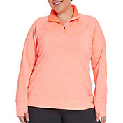 Reebok Women's Plus Size Cold Weather Compression 1/4 Zip Long Sleeve Shirt