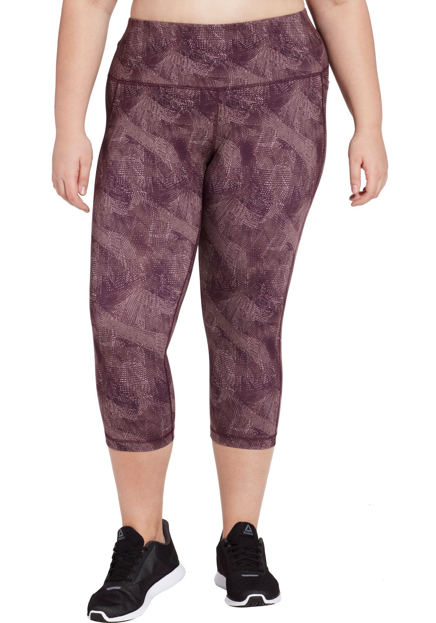 Reebok Women's Plus Size Printed Performance Pocket Capris