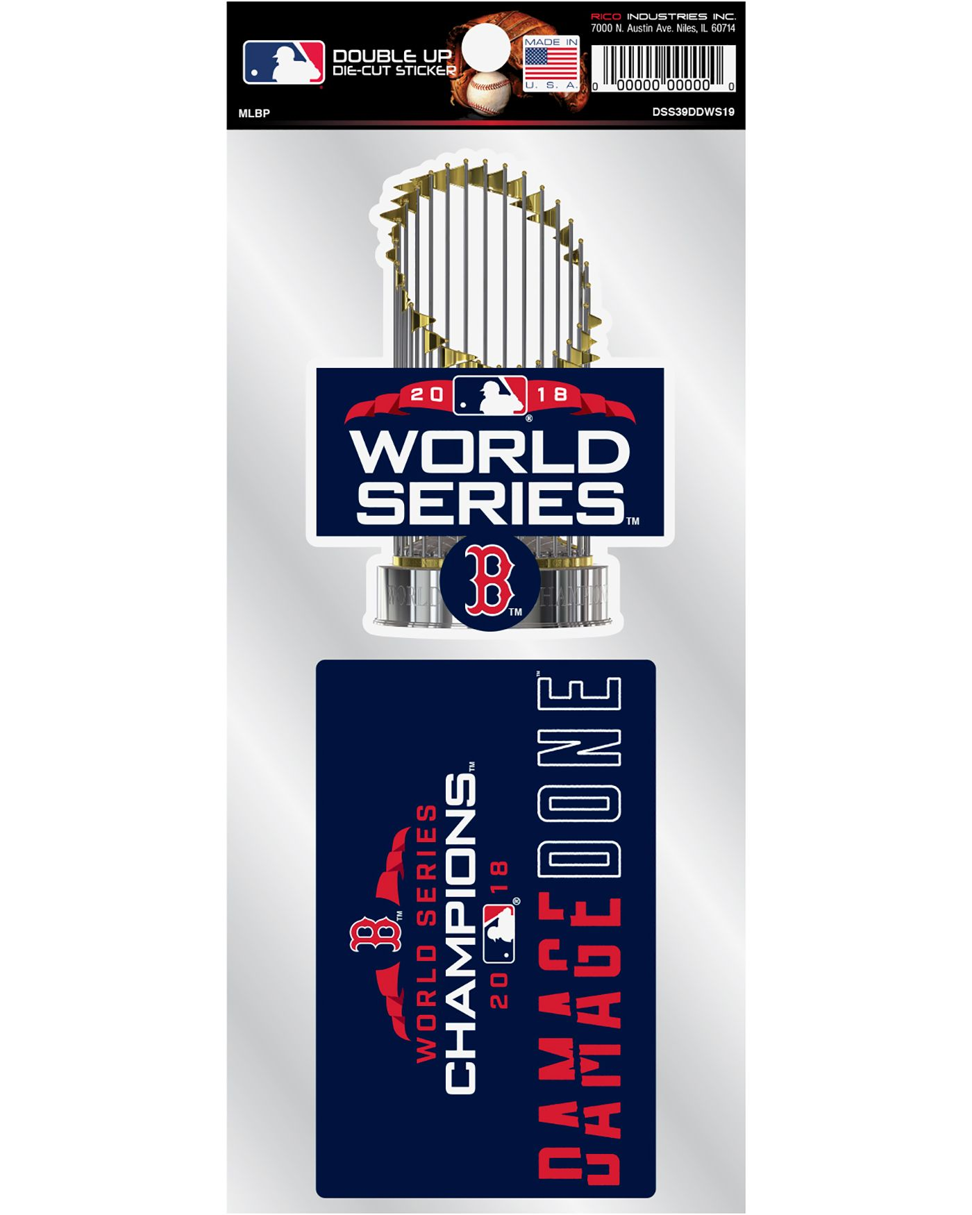 Rico 2018 World Series Champions Boston Red Sox 'Damage Done' Stickers