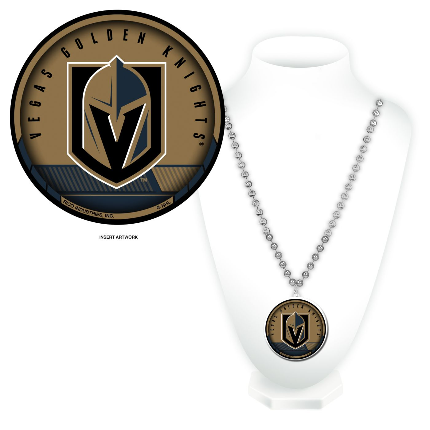 Rico Vegas Golden Knights Beaded Logo Necklace