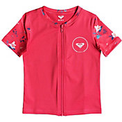 Roxy Girls' Shortbreak Short Sleeve Zippered Rash Guard