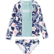 Roxy Girls' Fashion Long Sleeve Rash Guard Set