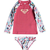 Roxy Girl's Vintage Tropical Long Sleeve Rash Guard Set