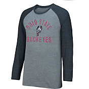 Scarlet & Gray Men's Ohio State Buckeyes Gray/Black AAA Long Sleeve Raglan Tee