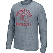 Scarlet & Gray Men's Ohio State Buckeyes Gray Tri-blend Long Sleeve Tee