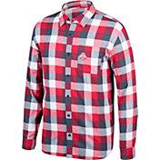 Scarlet & Gray Men's Ohio State Buckeyes Scarlet/Gray Run Around Button Down Flannel Long Sleeve Shirt
