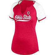 Scarlet & Gray Women's Ohio State Buckeyes Scarlet Outfield Raglan T-Shirt