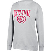 Scarlet & Gray Women's Ohio State Buckeyes Favorite Fleece White Crewneck Sweatshirt