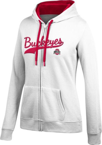 f0f160b5a4e Scarlet   Gray Women s Ohio State Buckeyes Essential White Full-Zip Hoodie