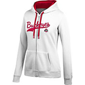 Scarlet & Gray Women's Ohio State Buckeyes Essential White Full-Zip Hoodie