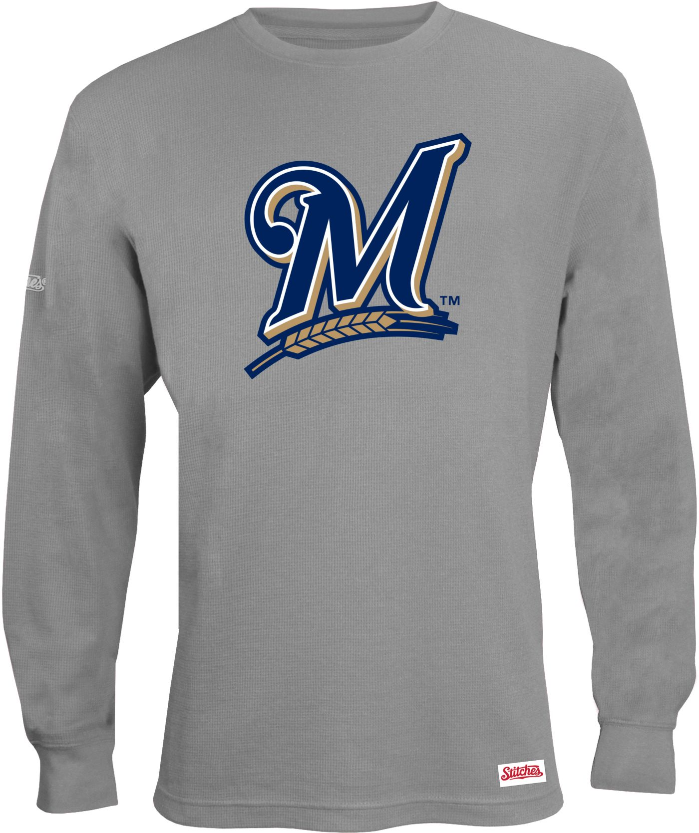 Stitches Men's Milwaukee Brewers Thermal Long Sleeve Fleece