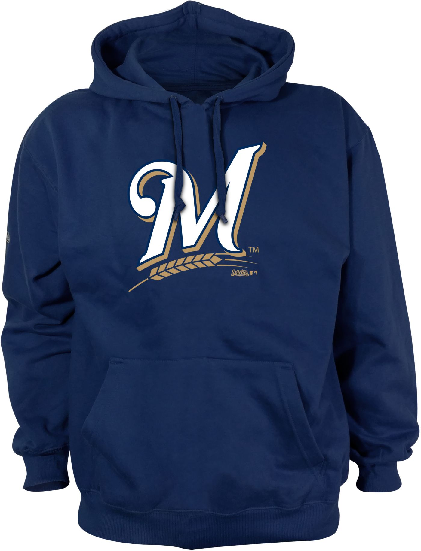Stitches Men's Milwaukee Brewers Pullover Hoodie